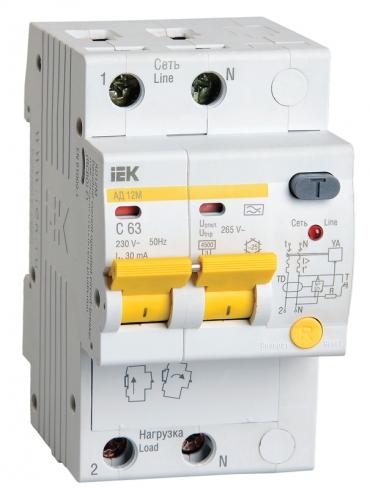 Дифференциальный автомат АД12М 2Р С63 30 мА IEK, MAD12-2-063-C-030