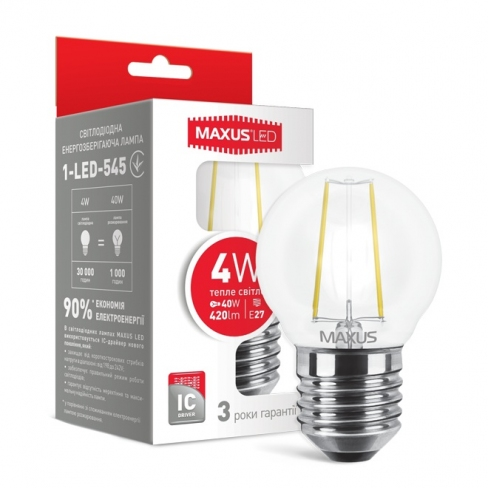 Лампа общего назначения (filament) LED лампа MAXUS (филамент), G45, 4W, мягкий свет,E27 (1-LED-545) (NEW)