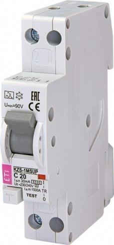 Дифференциальный автоматический выключатель KZS-1M SUP C 20/0,03 тип A (6kA) (верхн. подключ.) 2175725 ETI