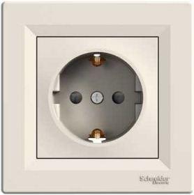 Механизм розетки 2К+З, 16А, немецкий стандарт, цвет белый, Asfora, Schneider Electric