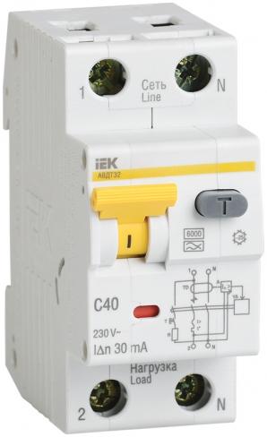 Автоматический выключатель дифференциального тока АВДТ 32 С40 30мА IEK, MAD22-5-040-C-30