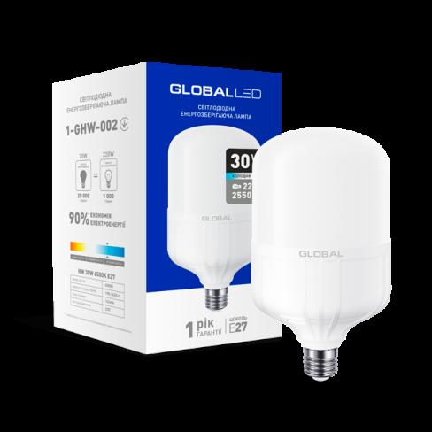 Высокомощная лампа LED лампа HW GLOBAL 30W 6500K E27 (1-GHW-002) (NEW)