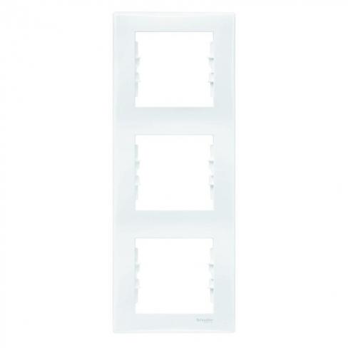 Рамка 3 поста, верт. монтаж, цвет Белый, Sedna, Schneider Electric
