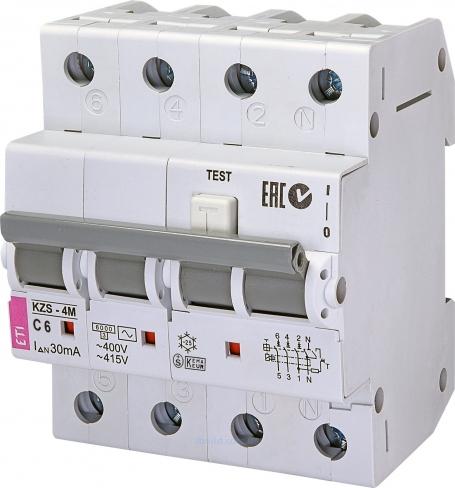 Дифференциальный автоматический выключатель KZS-4M 3p+N C 25/0,03 тип A (6kA) 2174926 ETI