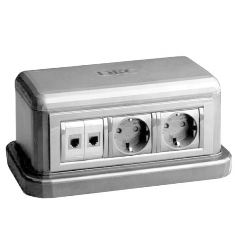 Башенка напольная двухсторонняя, 12М (в комплекте рамки 6М- 2 шт), серая (RAL 7035) 09070 серия In-liner Front, ДКС