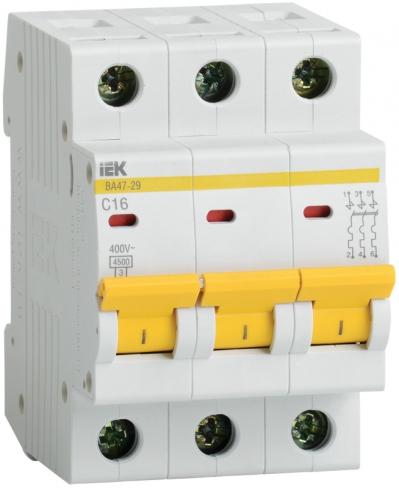 Автоматический выключатель ВА 47-29 3P 32A 4.5кА х-ка C IEK, MVA20-3-032-C