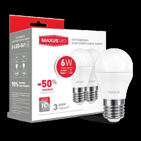 Набор LED ламп MAXUS G45 6W мягкий свет 220V E27 (по 2 шт.) (2-LED-541) (NEW)