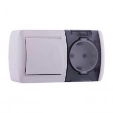 Выключатель и розетка с/з, с крышкой, белый, горизонталь Nata Lezard