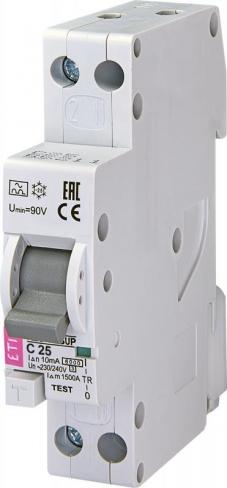 Дифференциальный автоматический выключатель KZS 1M SUP C 16/0,01 тип A (6kA) (верхн.подкл.) 2175854 ETI