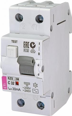 Дифференциальный автоматический выключатель KZS-R 1p+N C 10/0,03 тип A (10kA) 741016106 ETI