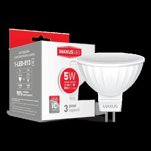 Точечная лампа LED лампа MAXUS MR16 5W мягкий свет 220V GU5.3 AP (1-LED-513) (NEW)