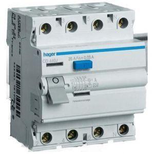 Диф выключатель (ПЗВ) 4х40А 30mA A 4м, CD440J, Hager