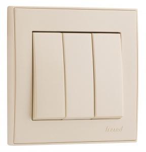 Выключатель тройной белый с белой вставкой, Rain, Lezard