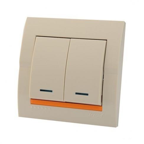 Выключатель 2-кл с подсветкой кремовый Deriy Lezard