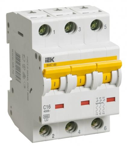 Автоматический выключатель ВА 47-60 3Р 63А х-ка D IEK, MVA41-3-063-D