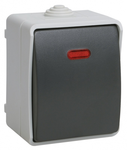 Выключатель одноклавишный со светловым индикатором для открытой установки IP54 ФОРС ВС20-1-1-ФСр, IEK