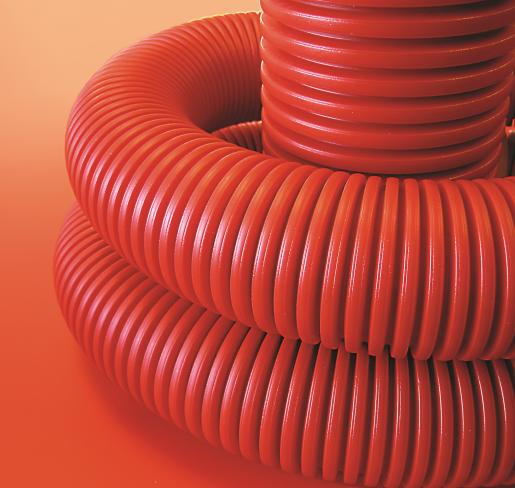 Труба гибкая гофрированная 125/107 мм, без протяжки, красная (бухта 20 м), ДКС