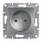 Механизм розетки без заземления, цвет сталь, Asfora, Schneider Electric