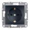 Механизм розетки 2К+З, 16А, немецкий стандарт, со шторками, цвет бронза, Asfora, Schneider Electric
