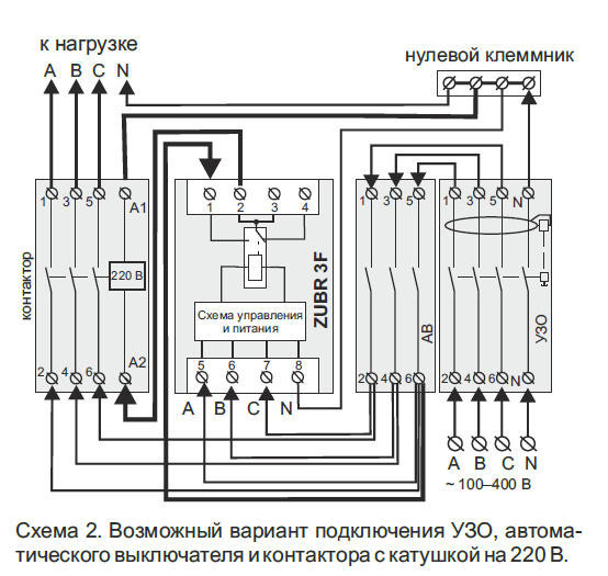 Расширенная схема с УЗО, АВ и контактором на 220V